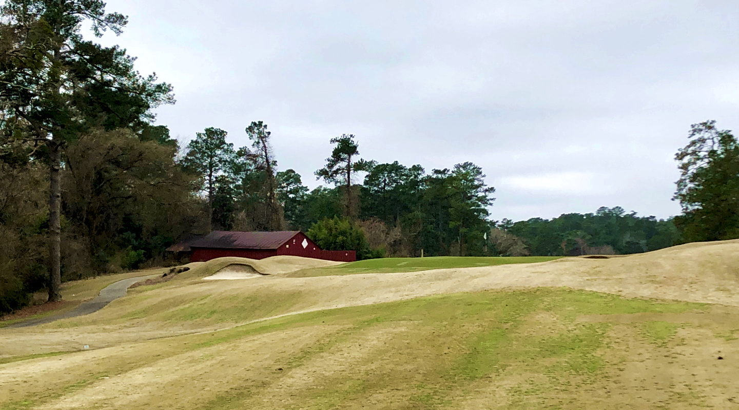 The approach on the 1st plays over rolling ground