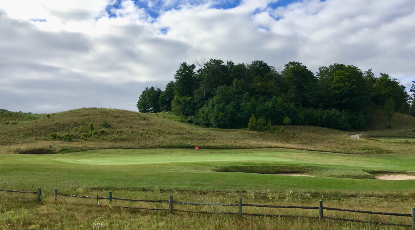The 10th green rests nicely in a hollow