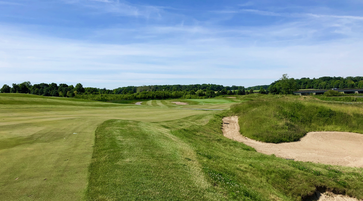 The built-up bunker right can obscure views into the 12th green