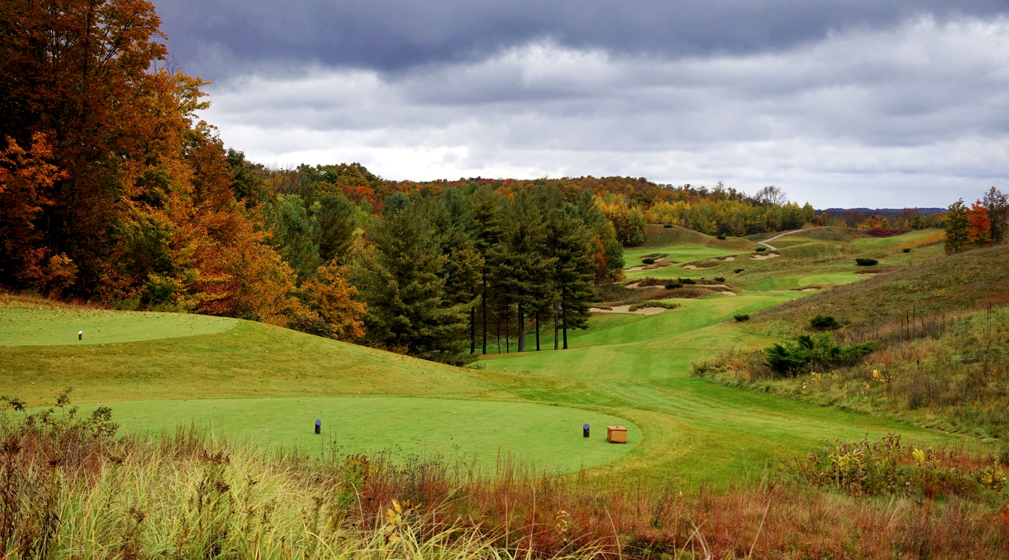 From the 7th tee, players can see down to the 8th green, and beyond - Photo credit: Jon Cavalier