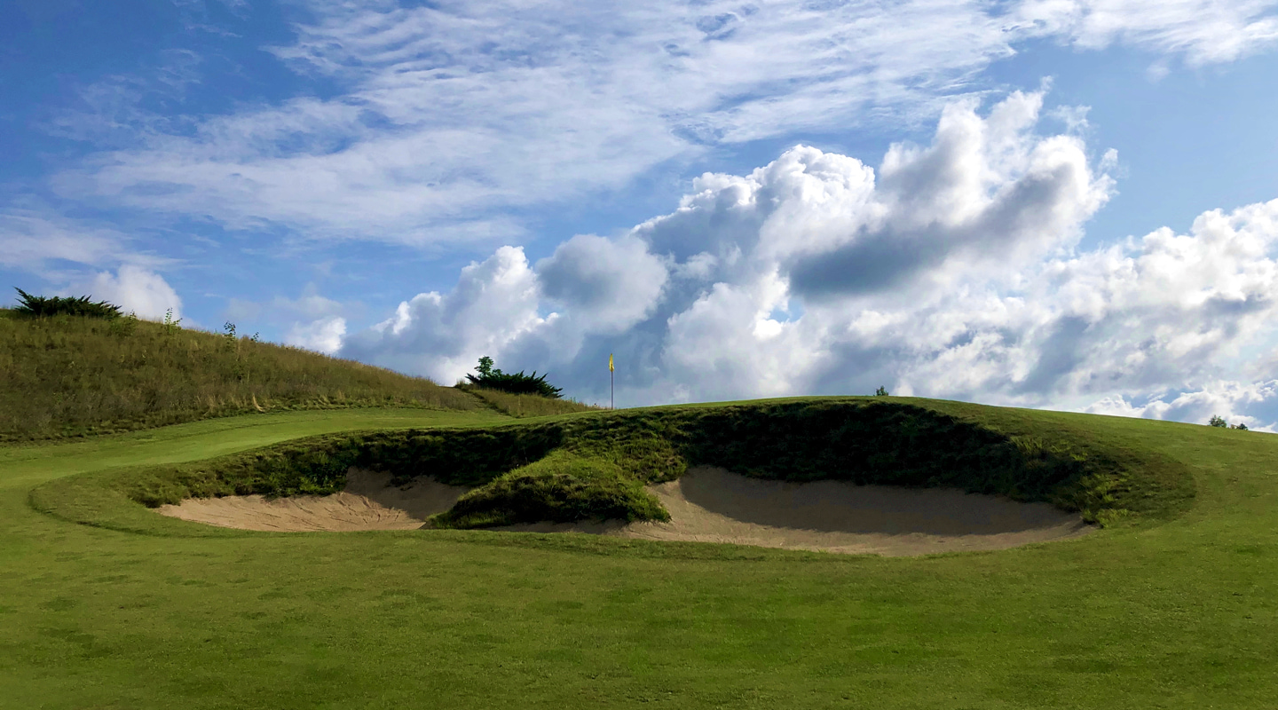 The fronting bunker on the 8th is not the place to miss