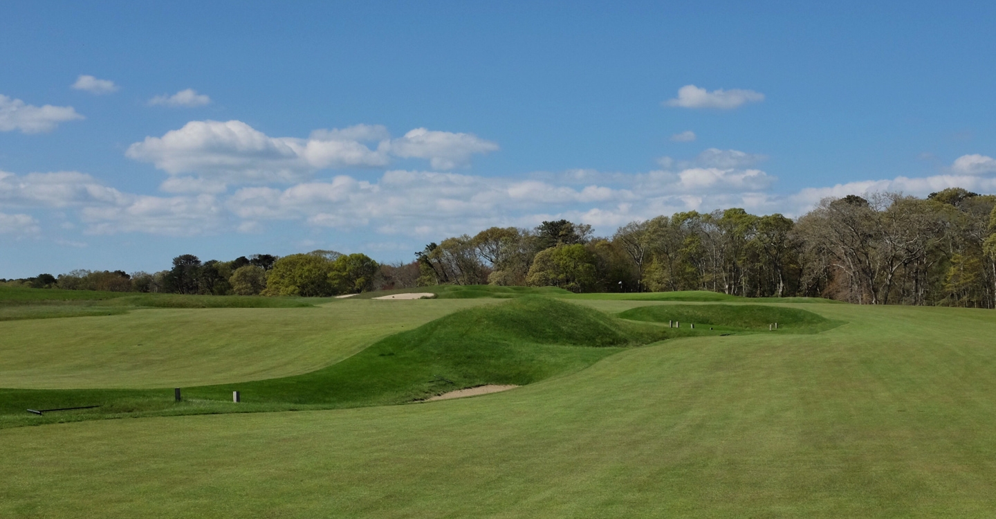 This unique bunker splits the fairway, forcing the player to choose a side