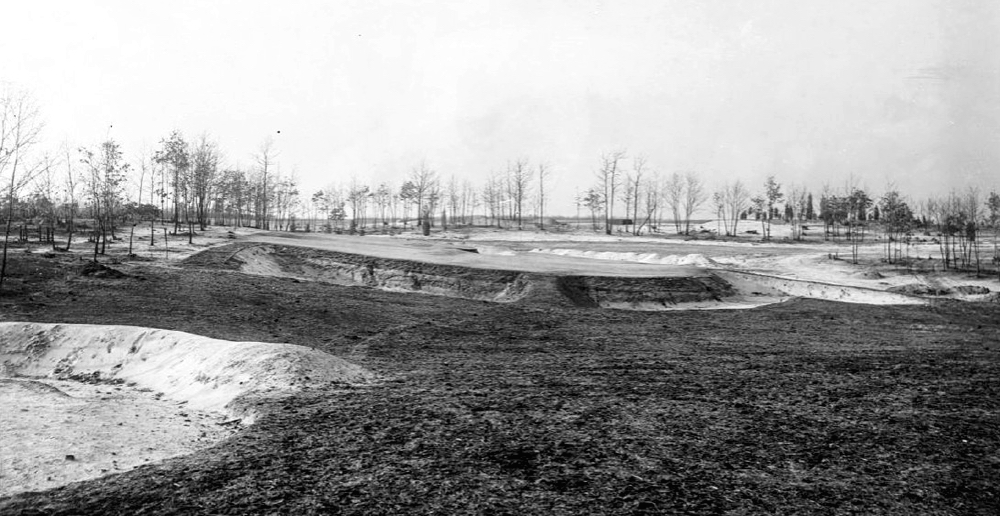 The 8th green complex under construction